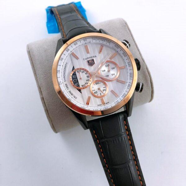 Réplica de relógio Tag Heuer Pulseira de Couro – Preto/Dourado