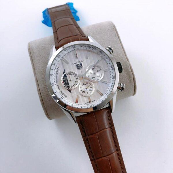 Réplica de relógio Tag Heuer Pulseira de Couro – Marrom/Branca