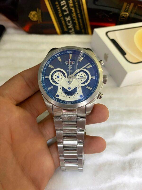 Réplica de relógio Tag Heuer Crono Aço – Prata/Azul