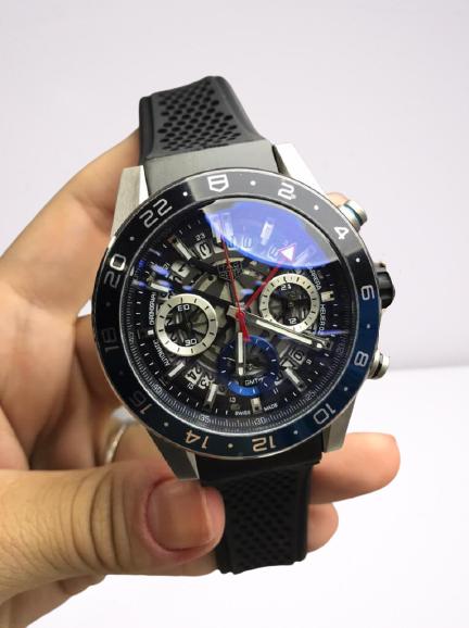 Réplica de relógio Tag Heuer Esqueleto Borracha – Preto/Azul