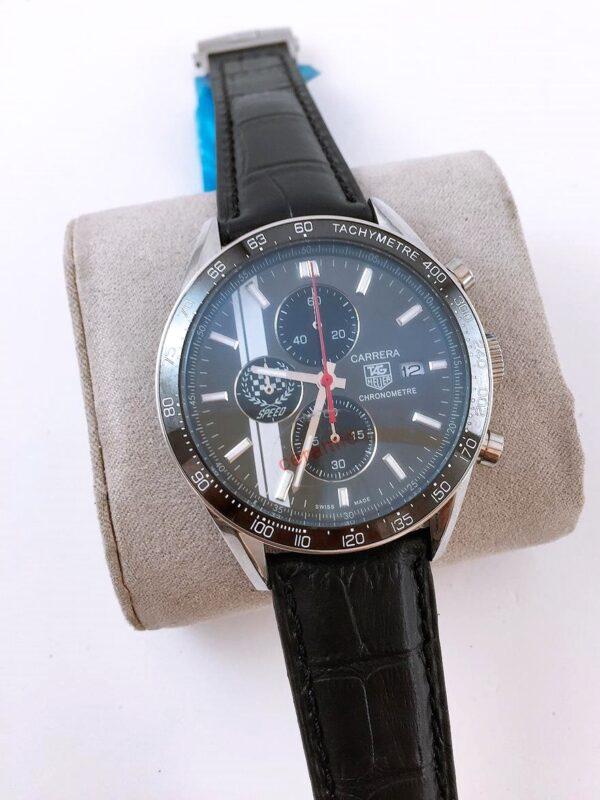 Réplica de relógio Tag Heuer Calibri 16 Couro – Prata/Black