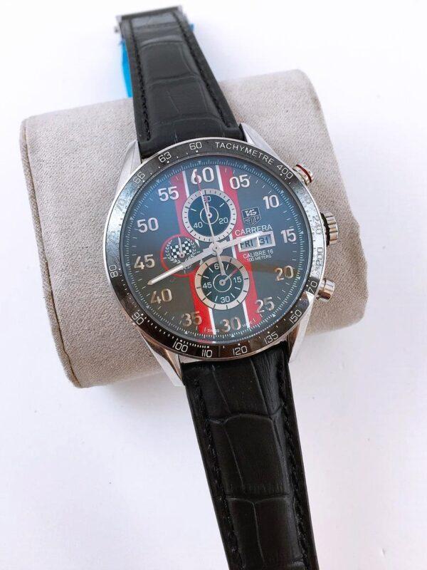 Réplica de relógio Tag Heuer Calibri 16 Couro – Preto/Vermelho