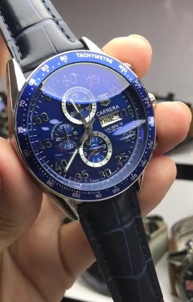 Réplica de relógio Tag Heuer Calibri 16 Couro – Preto/Azul