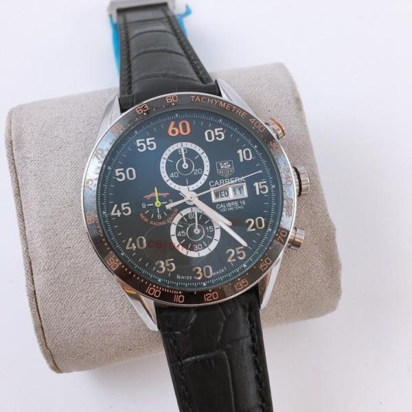 Réplica de relógio Tag Heuer Calibri 16 Couro – Preto