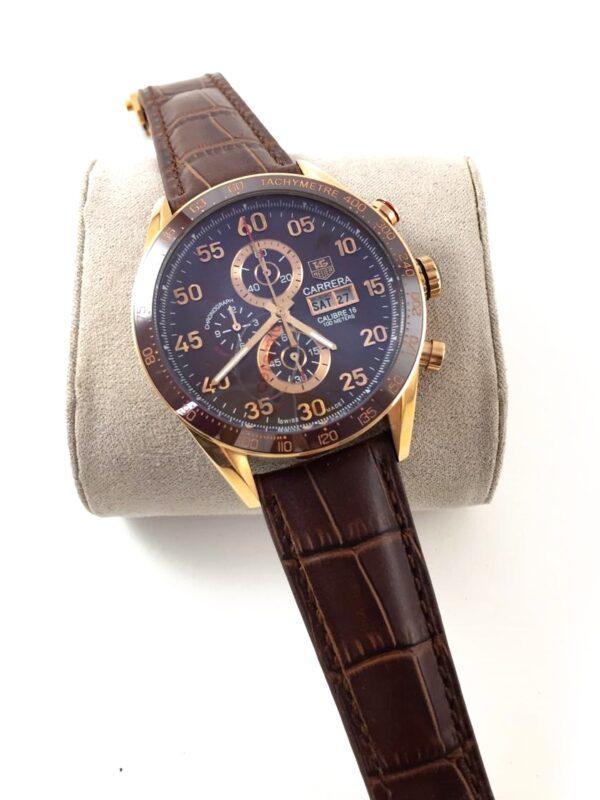Réplica de relógio Tag Heuer Calibri 16 Couro – Marrom/Dourado