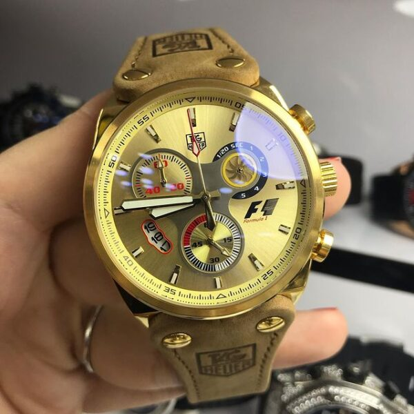 Réplica de relógio Tag Heuer F1 Couro – Dourado