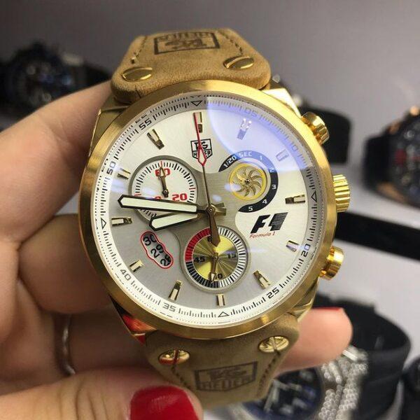 Réplica de relógio Tag Heuer F1 Couro – Dourado/Branco