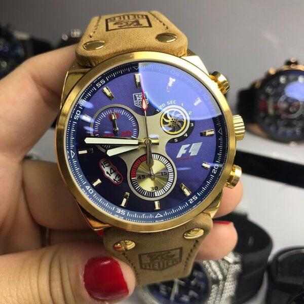 Réplica de relógio Tag Heuer F1 Couro – Dourado/Azul