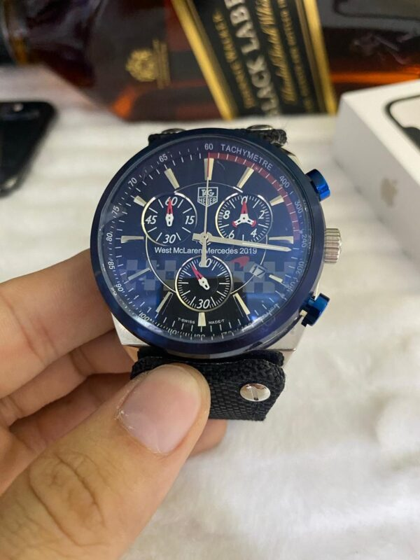Réplica de relógio Tag Heuer Couro e Lona (4 Parafuso) – Azul