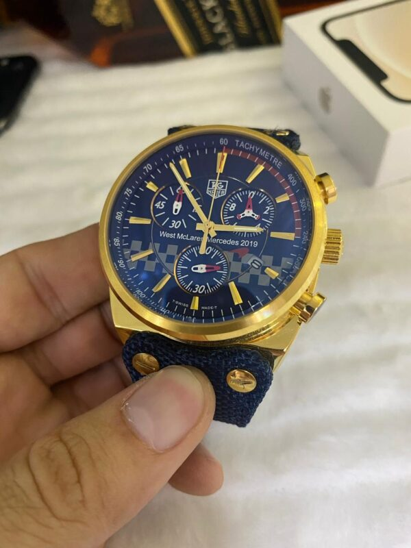 Réplica de relógio Tag Heuer Couro e Lona (4 Parafuso) – Dourado/Azul