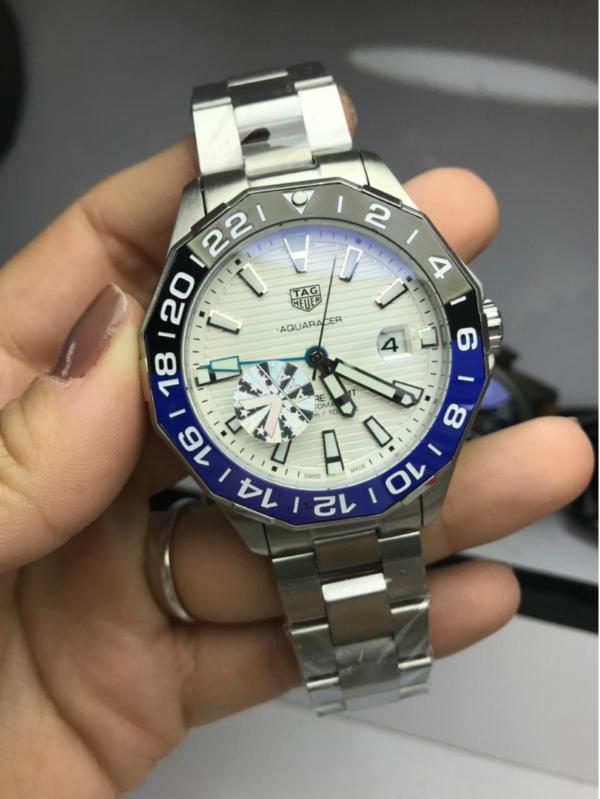 Réplica de relógio Tag Heuer GMT Aço – Prata/Branco
