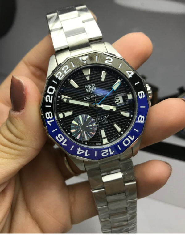Réplica de relógio Tag Heuer GMT Aço – Prata/Preto