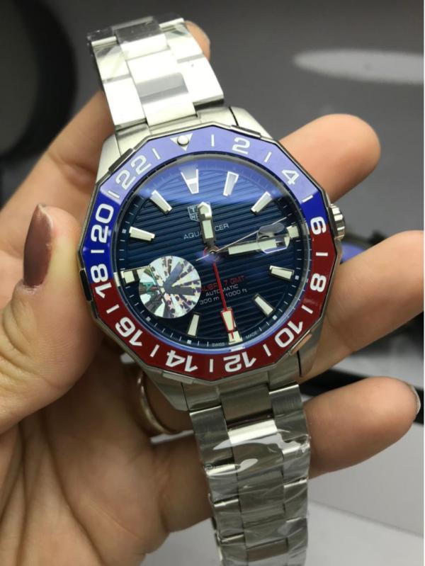 Réplica de relógio Tag Heuer GMT Aço – Prata/Azul