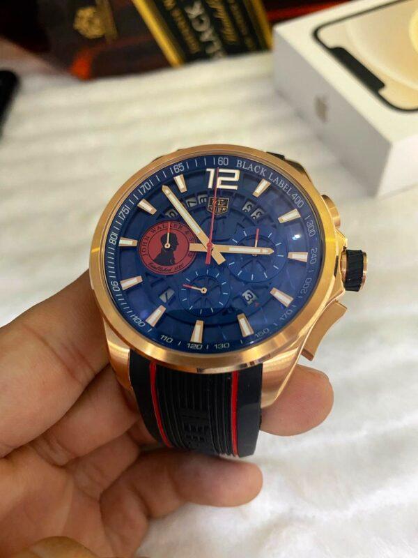 Réplica de relógio Tag Heuer John Borracha – Dourado/Azul