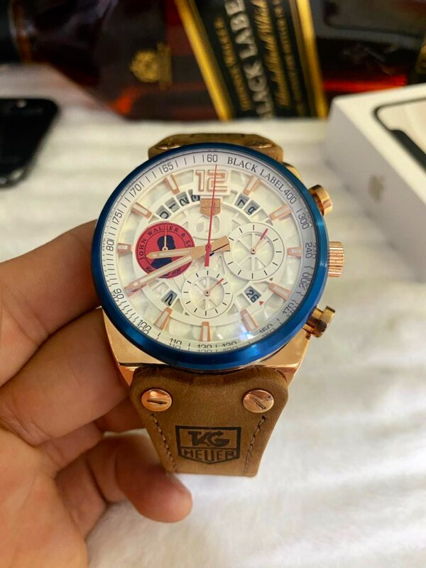 Réplica de relógio Tag Heuer John Couro – Dourado/Azul