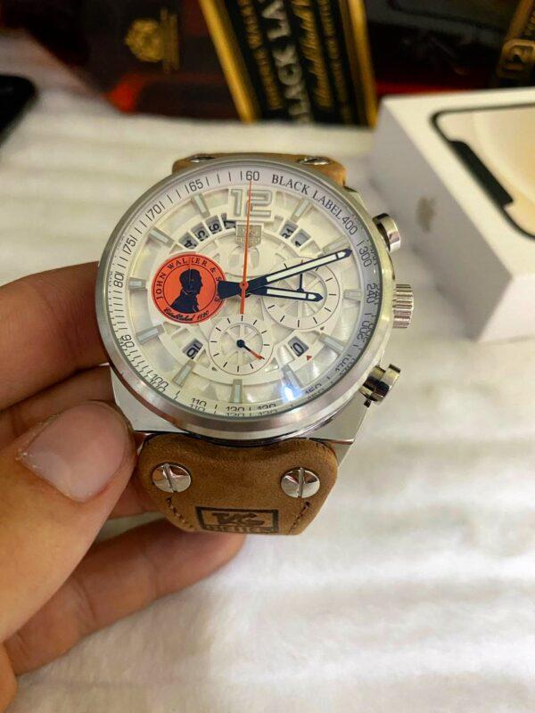 Réplica de relógio Tag Heuer John Couro – Prata/Branco