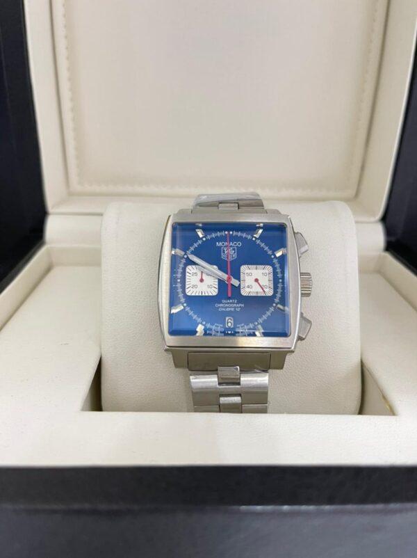 Réplica de relógio Tag Heuer Monaco Aço – Azul/Branco