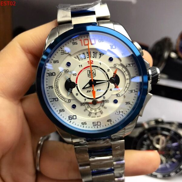 Réplica de relógio Tag Heuer Mercedes Benz SLZ Aço – Prata/Branco
