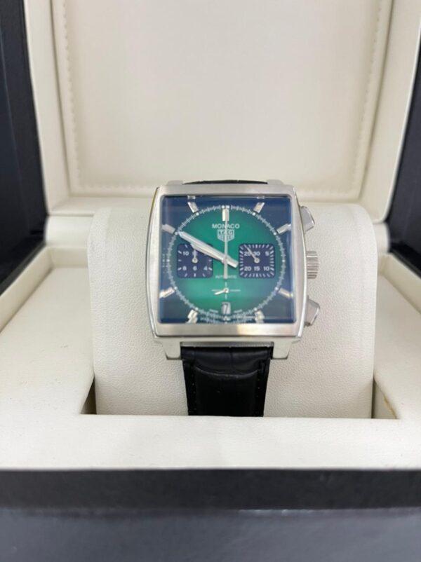Réplica de relógio Tag Heuer Monaco Couro – Verde Esmeralda