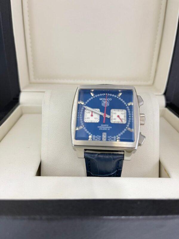 Réplica de relógio Tag Heuer Monaco Couro – Azul/Branco
