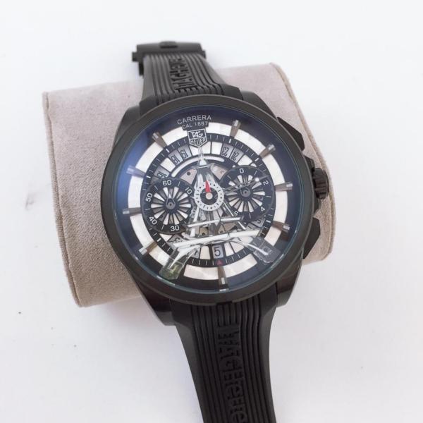 Réplica de relógio Tag Heuer Paris Borracha – Preto/Branco