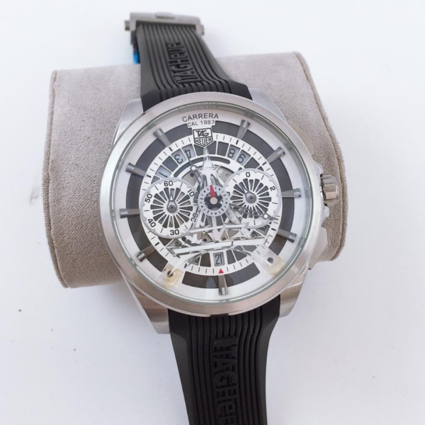 Réplica de relógio Tag Heuer Paris Borracha – Prata