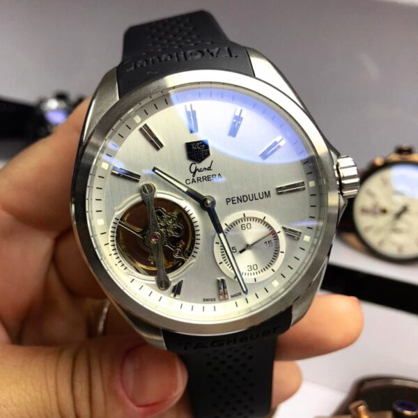 Réplica de relógio Tag Heuer Pendulum Borracha – Prata