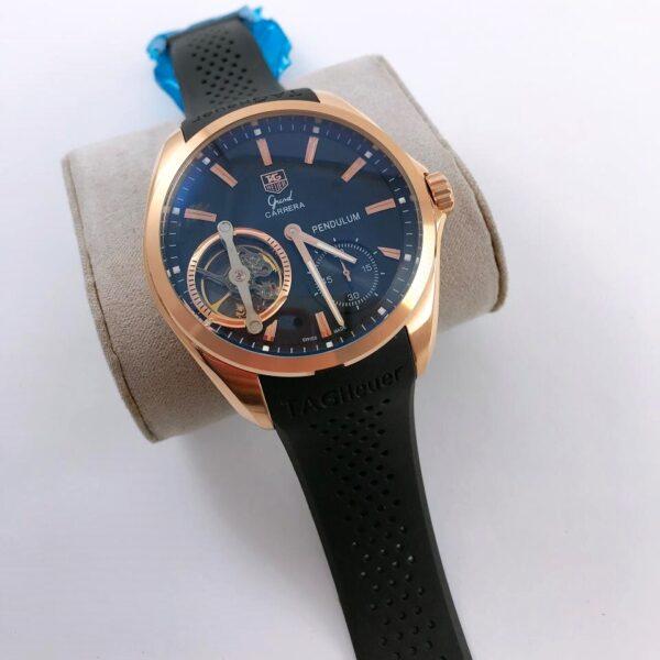 Réplica de relógio Tag Heuer Pendulum Borracha – Dourado/Preto