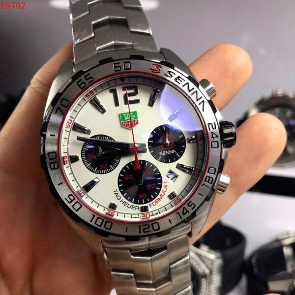 Réplica de relógio Tag Heuer Senna Aço – Vermelho/Branco