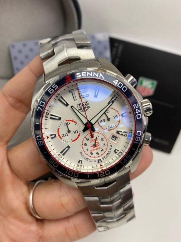 Réplica de relógio Tag Heuer Senna Aço – Branco/Vermelho