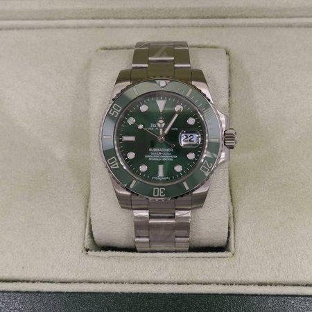 Réplica de relógio Rolex Submariner Prata/Verde